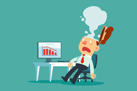 Illustration pour Exhausted businessman at his desk in office with smoke come out of his head. Business stress concept. - image libre de droit