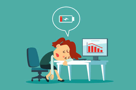 Ilustración de Frustrated and tired businesswoman laid her head on office desk with low battery icon. Business stress and frustration concept. - Imagen libre de derechos