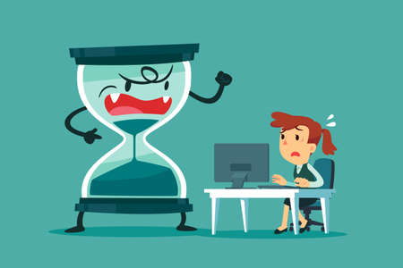 Vektor für Stressed and nervous businesswoman working at her office desk with big hourglass that almost run out beside her. business pressure and deadline concept. - Lizenzfreies Bild