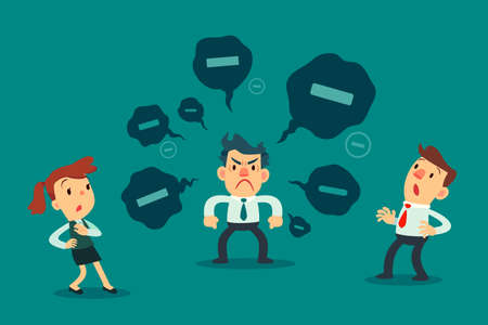 Illustration pour Stressed businessman spread negative thoughts to his colleague. toxic people business concept. - image libre de droit