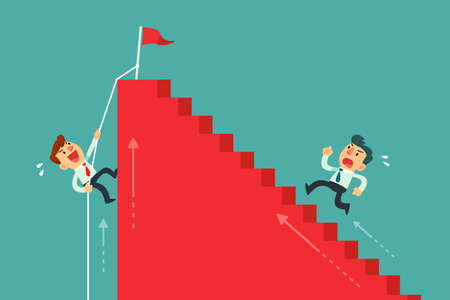 Illustration pour Two businessmen climbing stairs different way. Business competition concept. - image libre de droit