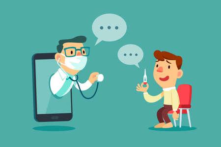 Illustration pour Male patient consult with doctor on smart phone screen. Online medical consultation concept. - image libre de droit