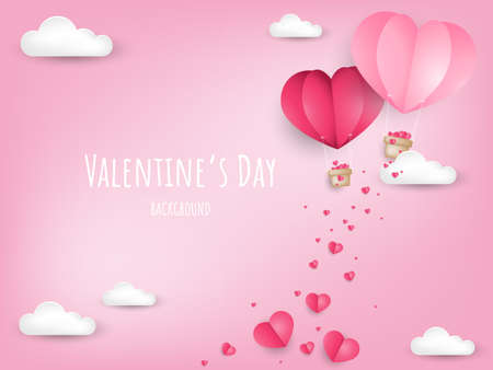 Illustration for Valentine's Day background with paper cut heart shape hot air balloon and little pink heart on the sky with cloud. Concept of love and valentine day, paper art style. - Royalty Free Image