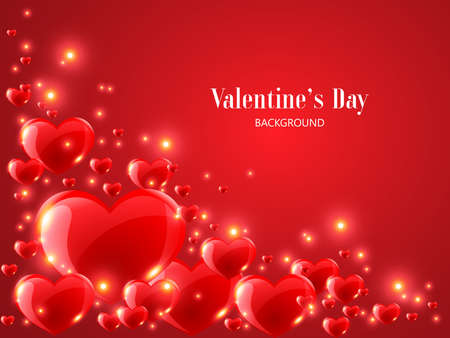 Illustration pour Valentine's Day background with realistic red heart on red background. - image libre de droit