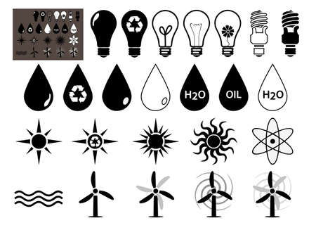 Energy Vector icons set that symbolize energy filled