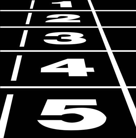 Vector of start or finish position on a black running track