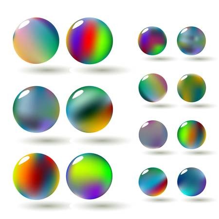 A set of glossy colorful vector spheres