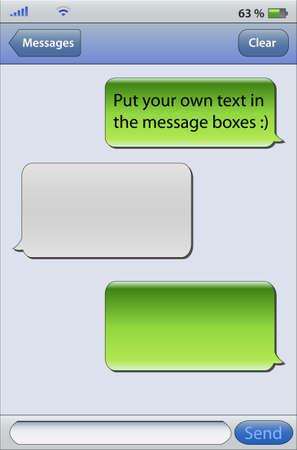 Illustration pour Place your own text in the message boxes, messaging on mobile phones - image libre de droit