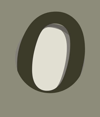 Card with number zero in circle with depth