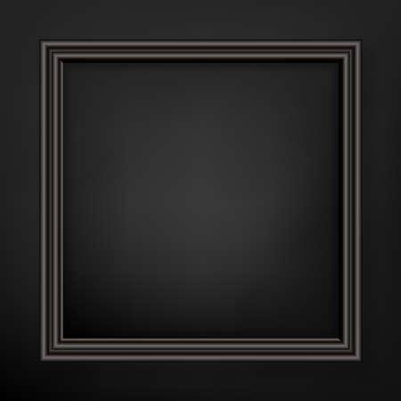 Illustration pour Empty black frame with depth and black background,  vector with copy-space - image libre de droit
