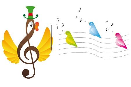 Treble clef is bird and singing birds