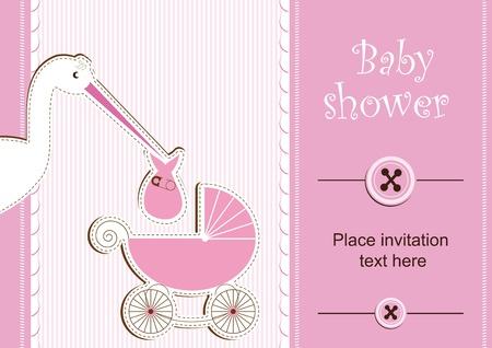Illustration pour Baby shower - girl - image libre de droit