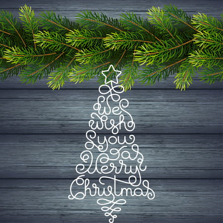 Holiday gift card with hand lettering We Wish You a Merry Christmas in the form of a Christmas tree on wood background. Vector illustration for your design