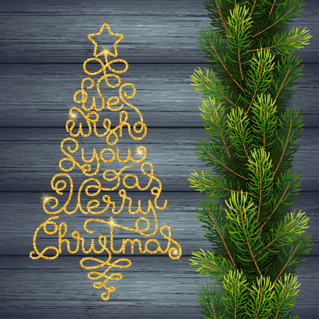Holiday gift card with golden hand lettering We Wish You a Merry Christmas in the form of a Christmas tree on wood background. Vector illustration for your design