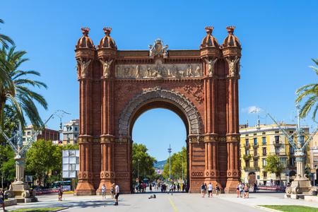 BARCELONA, SPAIN - JUNE 11: Triumph Arch of Barcelona in a summer day in Barcelona, Spain