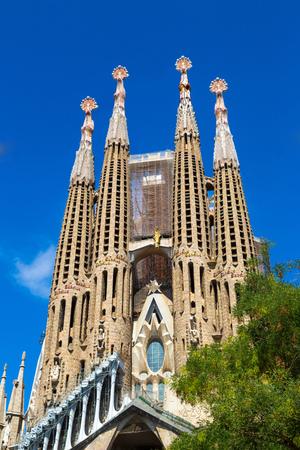 Sagrada Familia  in Barcelona in Spain in a summer day