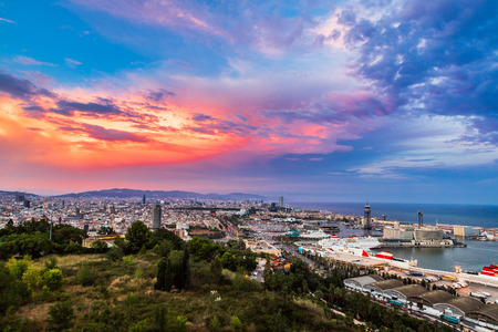 Photo for Panoramic view of Barcelona and port in Spain - Royalty Free Image