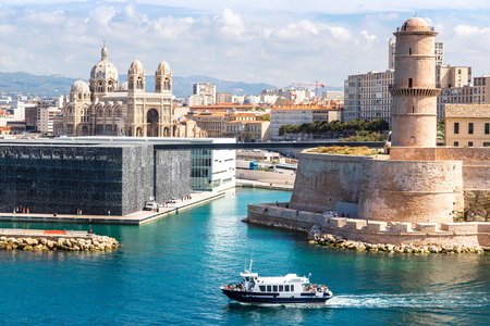 Saint Jean Castle and Cathedral de la Major and the Vieux port in Marseille, France