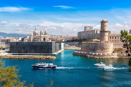 Photo pour Saint Jean Castle and Cathedral de la Major and the Vieux port in Marseille, France - image libre de droit