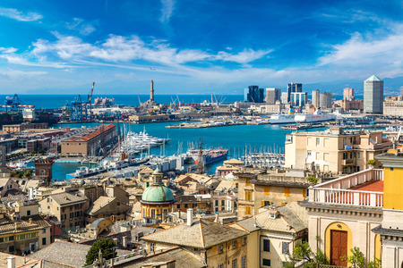 Photo pour Panoramic view port of Genoa in a summer day, Italy - image libre de droit