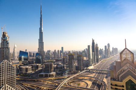 Photo pour Aerial view of downtown Dubai in a summer day, United Arab Emirates - image libre de droit
