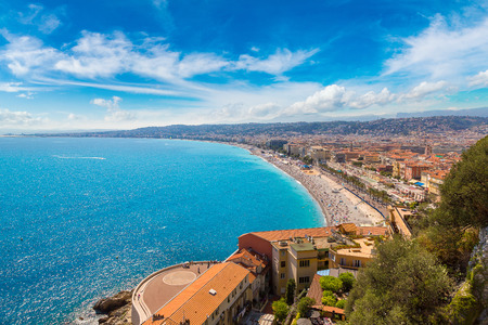 Photo for Panoramic aerial view of public beach in Nice in a beautiful summer day, France - Royalty Free Image