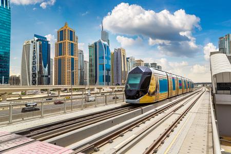 Foto de New modern tram in Dubai, United Arab Emirates - Imagen libre de derechos