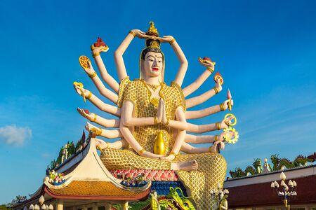 Photo pour Statue of Shiva in Wat Plai Laem Temple, Samui, Thailand in a summer day - image libre de droit