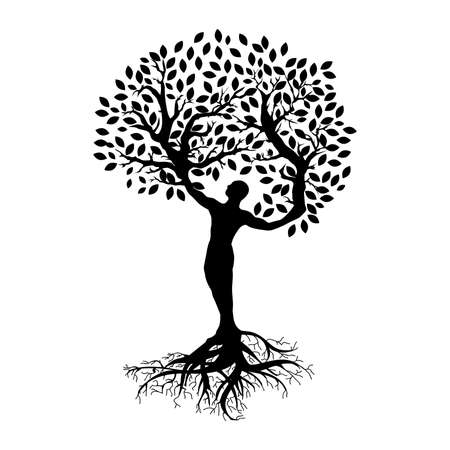 Illustration pour abstract human tree, person with roots, branches and leafs - image libre de droit