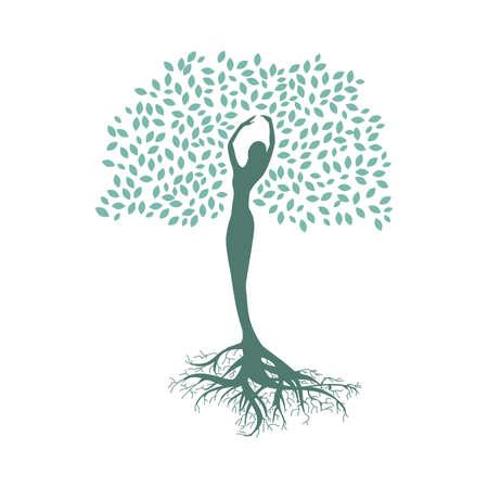 Illustration pour lady tree, connection with nature - image libre de droit