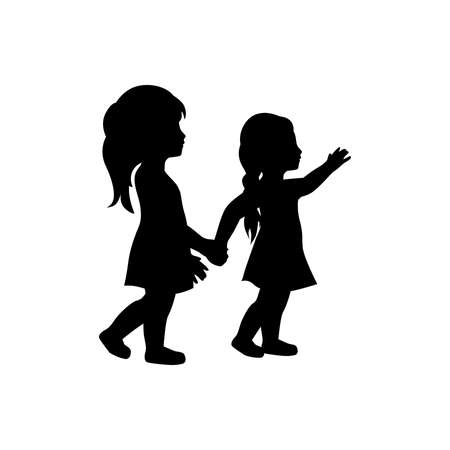 Illustration for two little girls - Royalty Free Image
