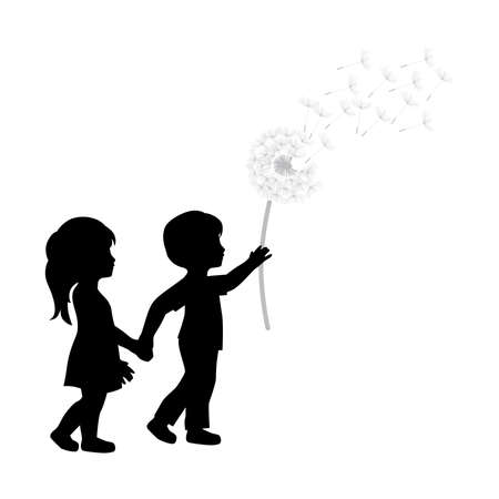 Illustration for miniature girl and boy with dandelion flower - Royalty Free Image
