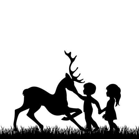 Illustration for little boy and girl with deer - Royalty Free Image