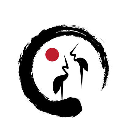 Ilustración de Cranes Icon. Feng Shui, Bird of happiness and good luck inside zen - Imagen libre de derechos