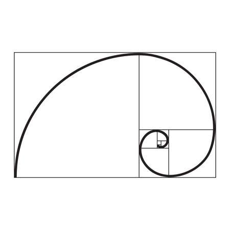 Illustration pour golden ratio spiral - image libre de droit