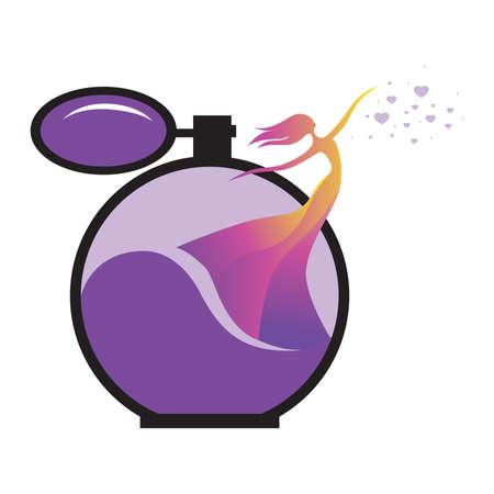 Illustration pour miniature colorful lady as a part of old fashion perfume bottle - image libre de droit