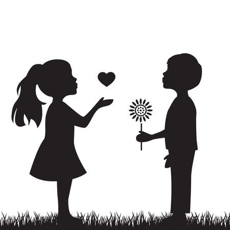 Illustration for boy with flower and girl with heart, vector illustration - Royalty Free Image