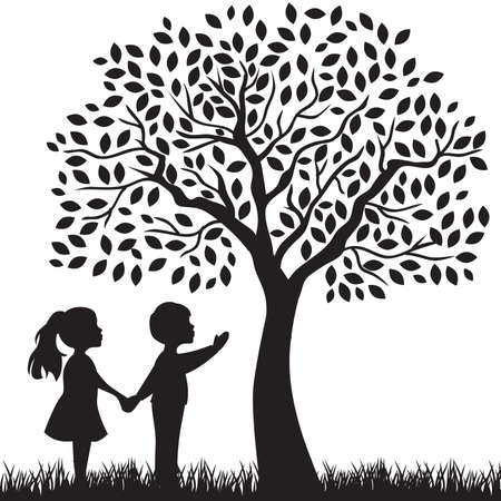 Illustration for kids and beautiful tree - Royalty Free Image