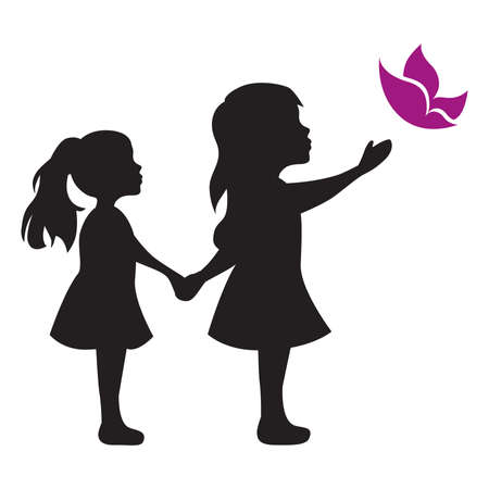 Illustration for little girls with butterfly, vector graphic design element - Royalty Free Image