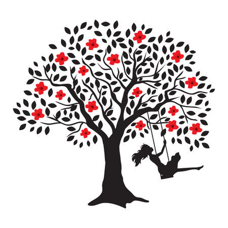 Illustration pour young woman and blooming tree swing, vector - image libre de droit