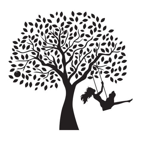 Illustration pour young woman and tree swing, vector - image libre de droit