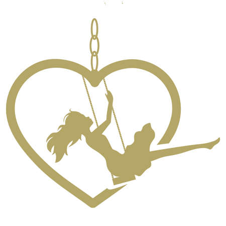 Illustration for young woman and gold heart swing, vector - Royalty Free Image