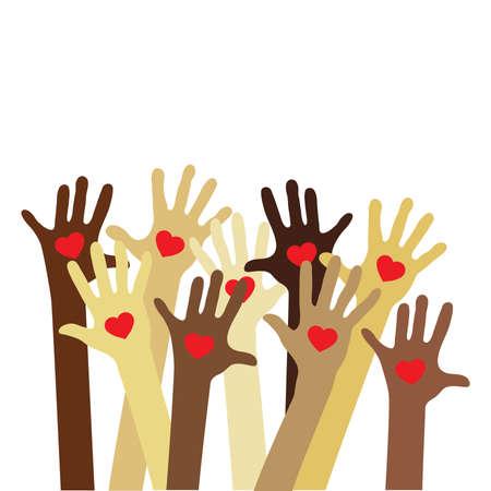 Illustration pour different skin colors hands - image libre de droit