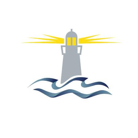 Illustration pour lighthouse and ocean waves - image libre de droit