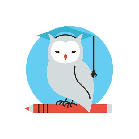 賢明なフクロウ、大学、学生の学習のフラットなデザイン要素と線 ...