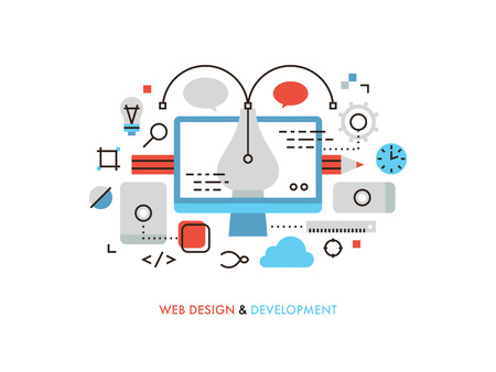 Thin line flat design of web design graphics, pen tool for creating interface elements, mobile ui and ux frames, sketching for client. Modern vector illustration concept, isolated on white background.