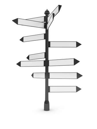 Directions signs over white background
