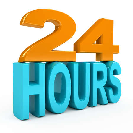 24 hours concept over white background. 3d rendered image