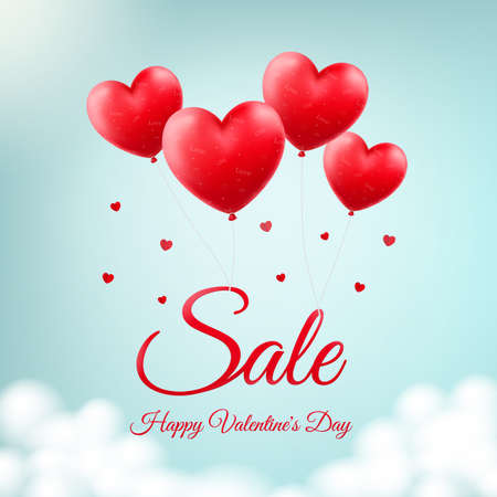 Illustration for Vector design for St. Valentine's Day. Heart-shaped red balloons in the sky as background for season sale and discounts - Royalty Free Image