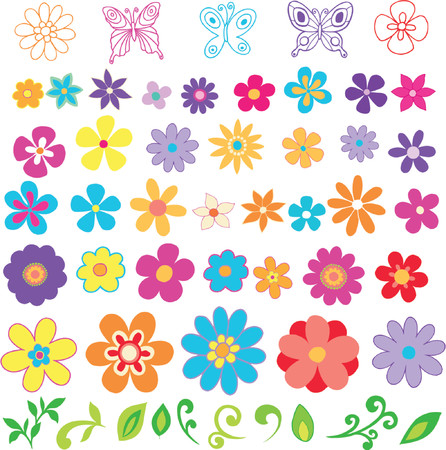 Flowers Vector Design Elements Illustration